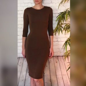 Yelete Mocha 3/4 Sleeve Bodycon Dress